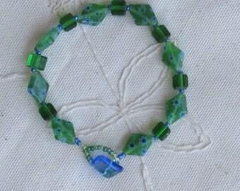 Spring Wear, Green Millefiori Bracelet, Green Square Glass Bead Bracelet, Diamond Bead Bracelet, Floral Detail Bracelet