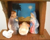 Vintage Handpainted Nativity Set Made Of Papier Mache Composition by Sonsco Japan