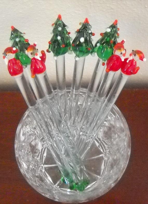 Set Of 8 Vintage Glass Christmas Tree and Santa Stir Sticks