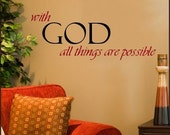 Wall Decal With GOD All Things Are Possible Scripture Decal