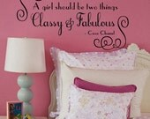 Wall Decal COCO CHANEL   girl should be two things Fabulous and Classy   LARGE