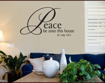 Vinyl Wall Decal Peace Be Unto This House