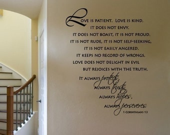 Wall Decal Scripture Love is Patient Love is Kind  Scripture Corinthinas  VINYL WALL DECAL