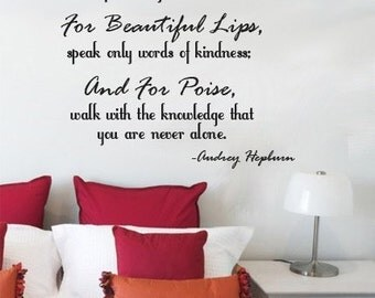 Wall Decal Audrey Hepburn For Beautiful Eyes, For Beautiful Lips  LARGE  Vinyl Wall Quote