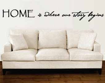 Wall Decal Home is where our story begins Vinyl Wall Art Quote    5 FEET WIDE   X Large