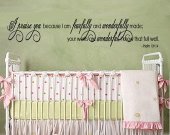 WALL DECAL Scripture Childrens I Praise You Because I am Wonderfully Made  Xlarge 60 inches