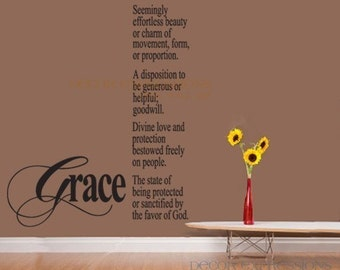 Grace Defintion    LARGE Vinyl Wall Decal Quote