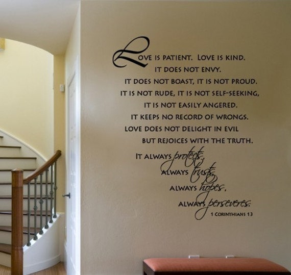 LOVE IS PATIENT LOVE IS KIND Bible Scripture Verse Vinyl Quote