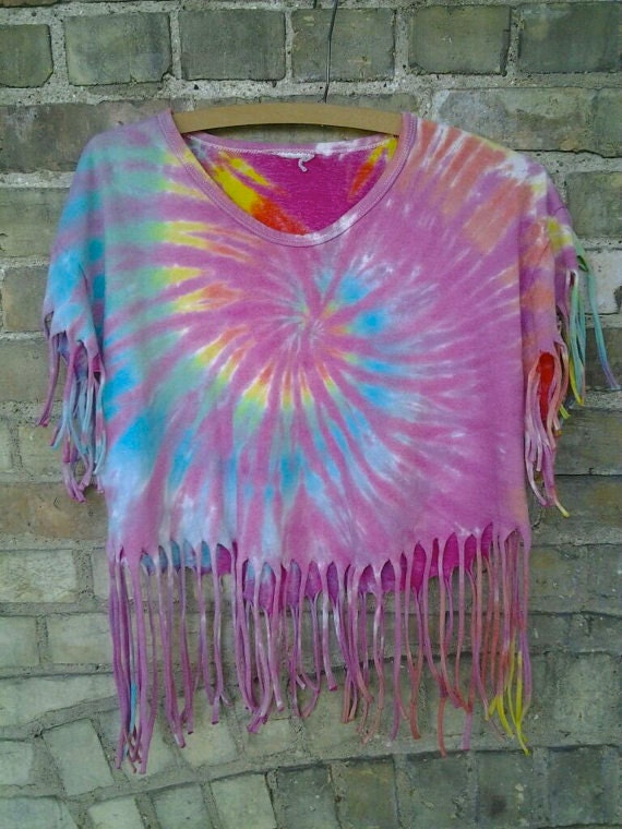 vintage tie dye fringe shirt by vintagerev on etsy