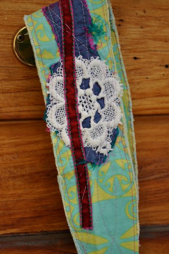 Headband/Dreadband Embellished Fabric with Wine Colored Ribbon