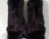 Black Monster Leg Warmers / Fluffies / Boot Covers - Cosplay / Furry / Animal / Rave