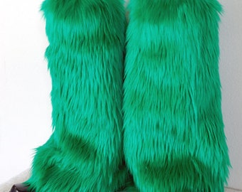 Green Monster Leg Warmers / Fluffies / Boot Covers - Cosplay / Furry / Animal / Rave