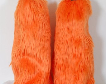 Orange Monster Leg Warmers / Fluffies / Boot Covers - Cosplay / Furry / Animal / Rave