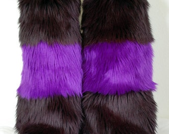 Black & Purple Monster Leg Warmers / Fluffies / Boot Covers - Cosplay / Furry / Animal / Rave
