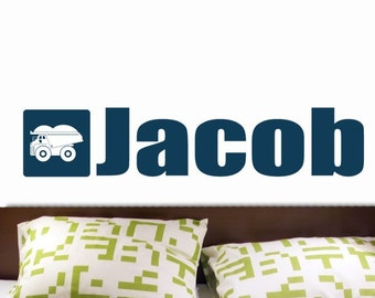 NAME and Truck Vinyl Wall Decal Sticker Original Graphics by DECOmod Walls  FREE SHIPPING