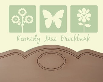 CUSTOM NAME butterfly flower Vinyl Wall Decal Graphics