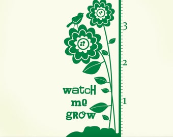 GROWTH CHART Custom Name Flowers ORIGINAL Design by DecoMOD Walls 54 inches high