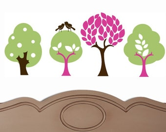 TREES with Leaves and POLKA DOTS and BIRDS Vinyl Decal Sticker Original Graphics by DECOmod Walls