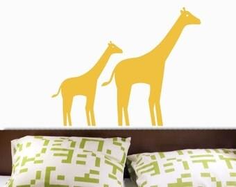 Giraffe Mom and Baby MODERN Vinyl Wall Decal ORIGINAL GRAPHICS by DecoMOD Walls
