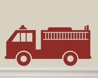 Fire Truck Vinyl Lettering Wall Decal Original Graphics by Decomod Walls