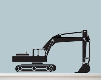 HUGE Excavator Tractor Vinyl Decal Graphic by DECOmod Walls 40X22