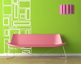 Custom Modern Wall Art Vinyl Lettering Decals Geometric Squares by Decomod Walls 48X22