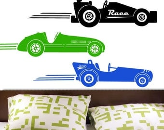 NEW DESIGN Race Cars Vintage Style Vinyl Wall Decal ORIGINAL Graphics by DecoMOD Walls