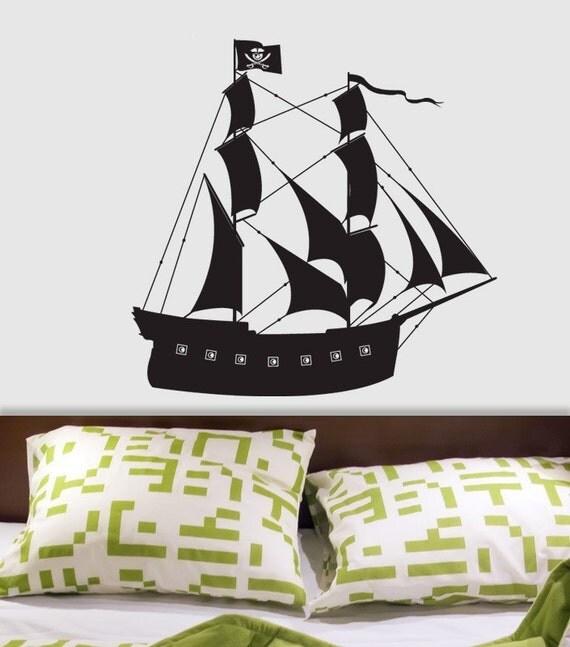 pirate ship custom vinyl wall decal by decomodwalls. Black Bedroom Furniture Sets. Home Design Ideas