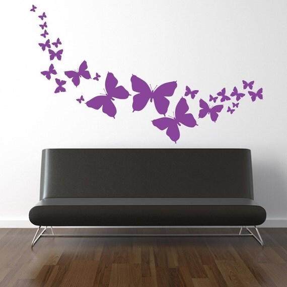 HUGE Flock of Butterflies Vinyl Wall Decal Graphics Tattoo ORIGINAL Designs by DecoMOD Walls