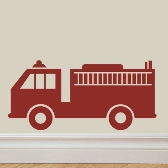 Fire Truck Vinyl Lettering Wall Decal Original Graphics by Decomod Walls