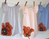 Upcycled poppy dress, sizes 6m - 6, in short sleeve, long sleeve, or 3/4 sleeve, 11161