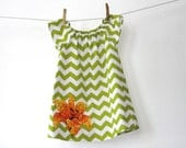 Green chevron Peasant dress with orange flower applique - Sizes 6m, 12m, 18m, 2T, 3T, 4, 5, 6, 7/8