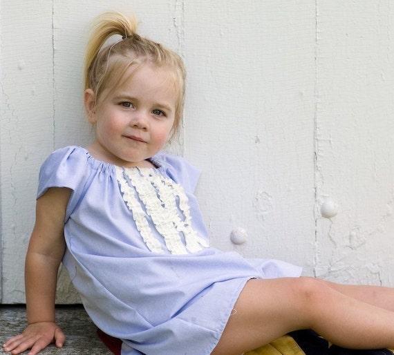 Ruffle dress in light blue, short sleeves - Upcycled, sustainable fashion