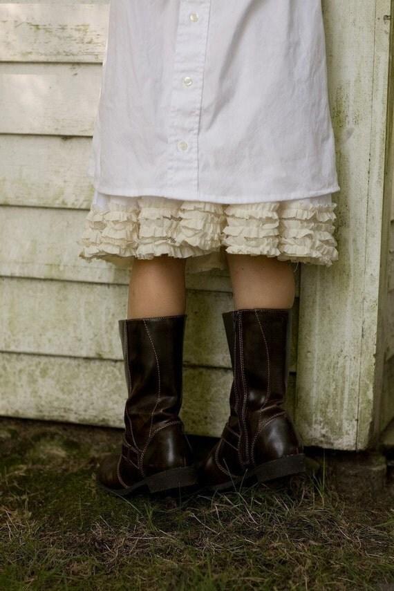 White petticoat with off-white ruffles