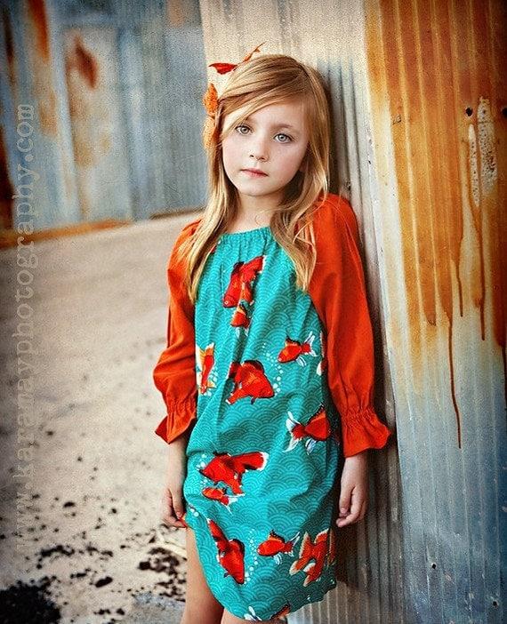 Koi - Goldfish dress in turquoise and organic orange cotton - Sizes 6m, 12m, 18m, 2T, 3T, 4, 5, 6, 7 and 8