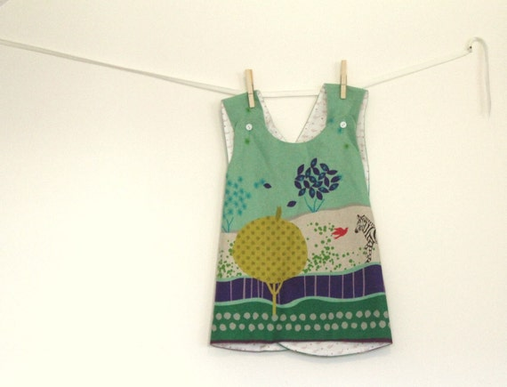 Reversible pinafore dress in Japanese import Echino print linen - Sizes 6m, 12m, 18m, 2T, 3T and 4