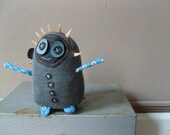 On Sale! Dolores the Librarian Plush Doll in Upcycled Charcoal Grey Knit