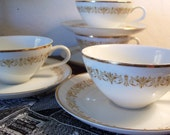 Vintage Sheffield Imperial Gold Teacups and Saucers