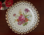 Elegant Vintage Creamy White Floral Plate