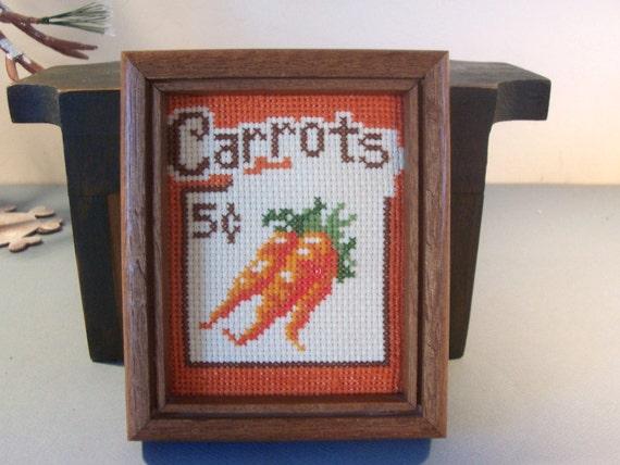 Vintage Carrot Cross Stitch Framed