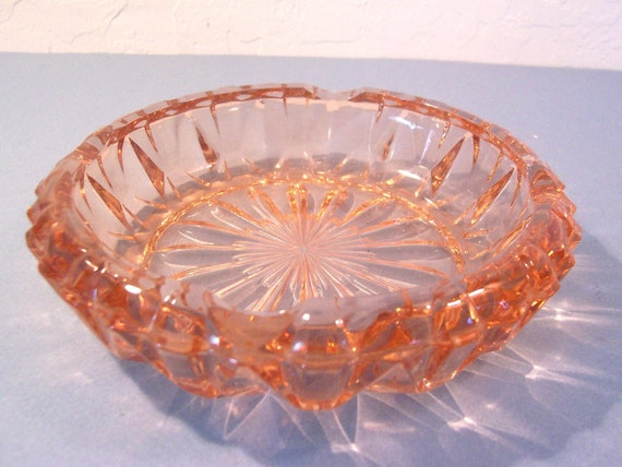 Vintage Pink Depression Glass Ashtray