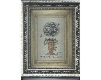 Completed Cross Stitch in Frame: Topiary Welcome