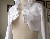 Ivory Bridal Bolero, Winter Wedding cover-up, Long Sleeved, Ruffle Bolero, Shrug, Rustic Vintage Retro Bolero Ivory, white & more colors