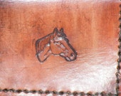 Handmade leather ID Wallet for horse lovers