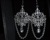 Swarovski  and  Cubic  Zirconia  Scroll  Earrings