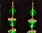 Peridot Green Quartz, Purple Sapphire and Black Spinel Earrings