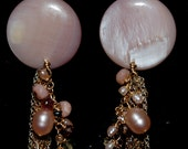 Pink Mother of Pearl and Sapphire Gemstone Earrings
