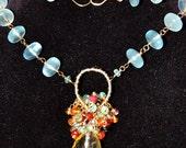 Moss Aquamarine, Ruby, Rutilated Quartz and Gemstone Necklace