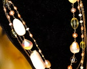 Pink Opal, Quartz, and Freshwater Pearl Gemstone Necklace