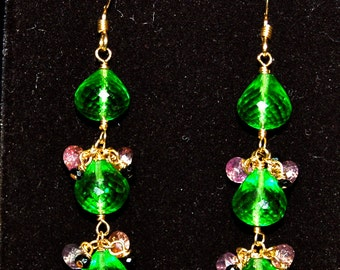 Peridot Green Quartz, Purple Sapphire and Black Spinel Earrings